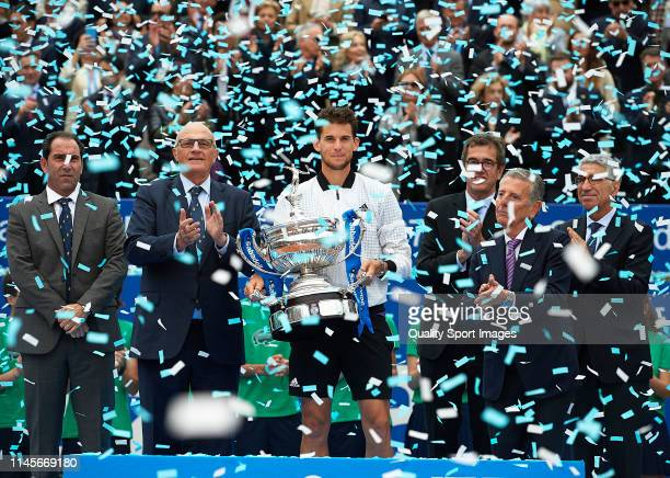 Dominic Thiem of Austria poses with the trophy after defeating Daniil Medvedev of Russia during the final match on day seven of the Barcelona Open...