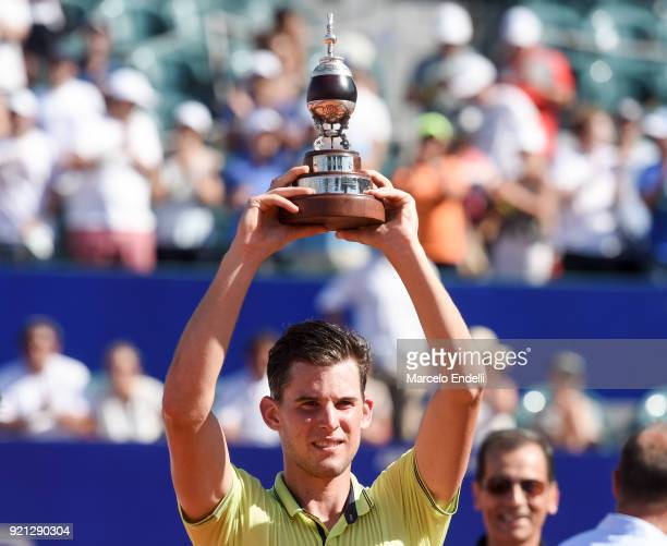Dominic Thiem of Austria poses with the trophy after winning the final match against Aljaz Bedene of Slovenia as part of ATP Argentina Open at Buenos...