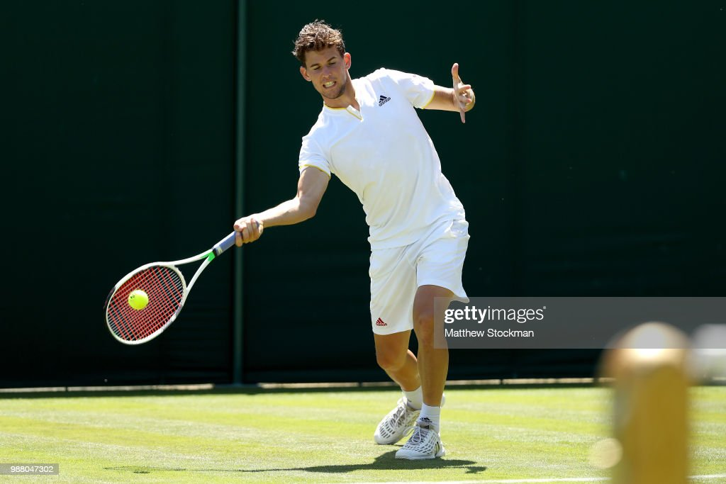 Dominic Thiem of Austria practices on court during training for the Wimbledon Lawn Tennis Championships at the All England Lawn Tennis and Croquet Club at Wimbledon on June 30, 2018 in London, England.