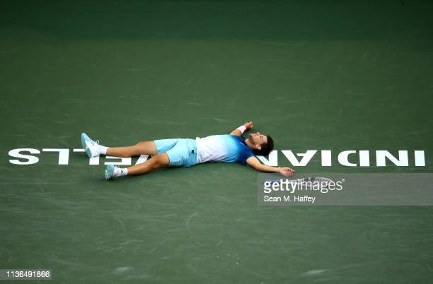 Dominic Thiem of Austria reacts after defeating Roger Federer of Switzerland during their men's singles final match at the BNP Paribas Open at the...