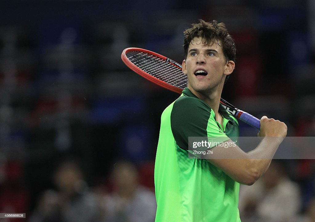 Dominic Thiem of Austria reacts after winning his match against Lukas Rosol of Czech Republic during the day one of the Shanghai Rolex Masters at the Qi Zhong Tennis Center on October 5, 2014 in Shanghai, China.