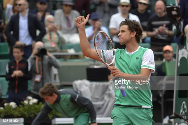 Dominic Thiem of Austria reacts after winning the men's singles quarterfinal match against Novak Djokovic of Serbia on day eleven of the 2017 French...