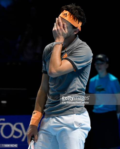 Dominic Thiem of Austria reacts during his match against Stefanos Tsitsipas in their Final match during Day Eight of the Nitto ATP Finals at The O2...