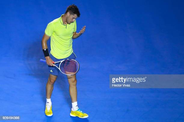 Dominic Thiem of Austria reacts during the match between Juan Martin del Potro of Argentina and Dominic Thiem of Austria as part of the Telcel ATP...