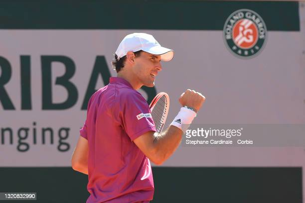 Dominic Thiem of Austria reacts in his First Round match against Pablo Andujar of Spain during Day One of the 2021 French Open at Roland Garros on...