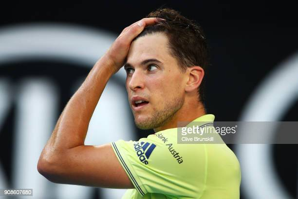 Dominic Thiem of Austria reacts in his fourth round match against Tennys Sandgren of the United States on day eight of the 2018 Australian Open at...