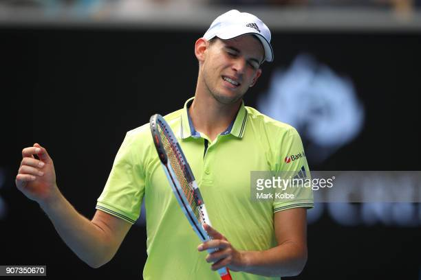 Dominic Thiem of Austria reacts in his third round match against Adrian Mannarino of France on day six of the 2018 Australian Open at Melbourne Park...