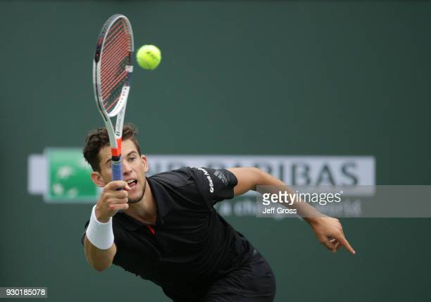 Dominic Thiem of Austria returns a foreand to Stefanos Tsitsipas of Greece during the BNP Paribas Open on March 10 2018 at the Indian Wells Tennis...