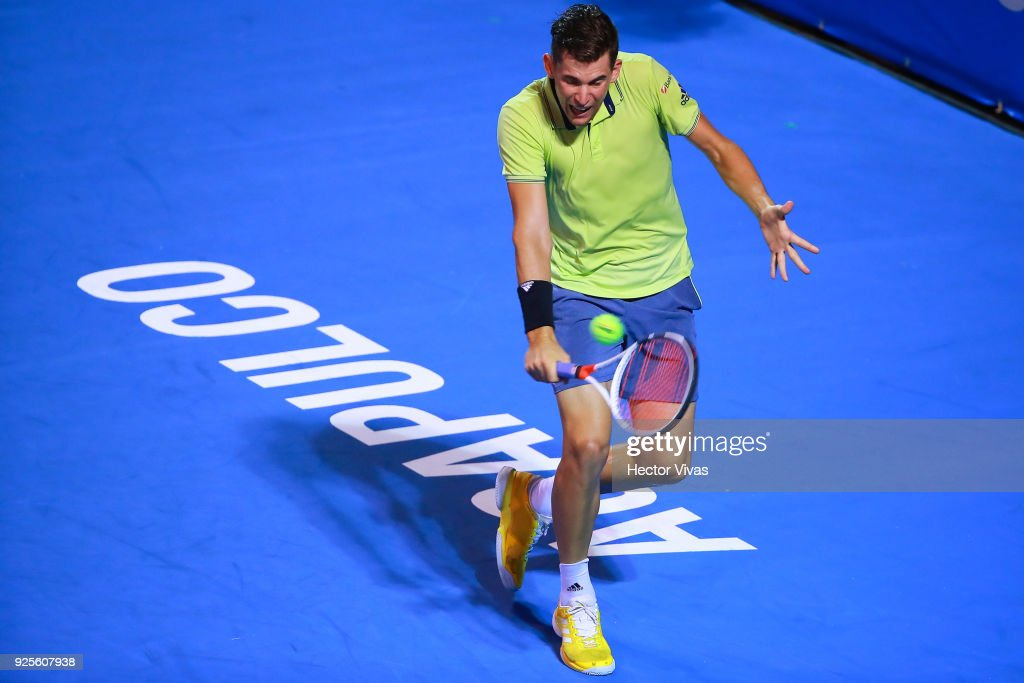 Dominic Thiem of Austria returns a shot during a match between Cameron Norrie of Great Britain and Dominic Thiem of Austria as part of the Telcel Mexican Open 2018 at Mextenis Stadium on February 27, 2018 in Acapulco, Mexico.