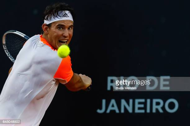 Dominic Thiem of Austria returns a shot to Diego Schwartzman of Argentina during the quarter finals of the ATP Rio Open 2017 at Jockey Club...