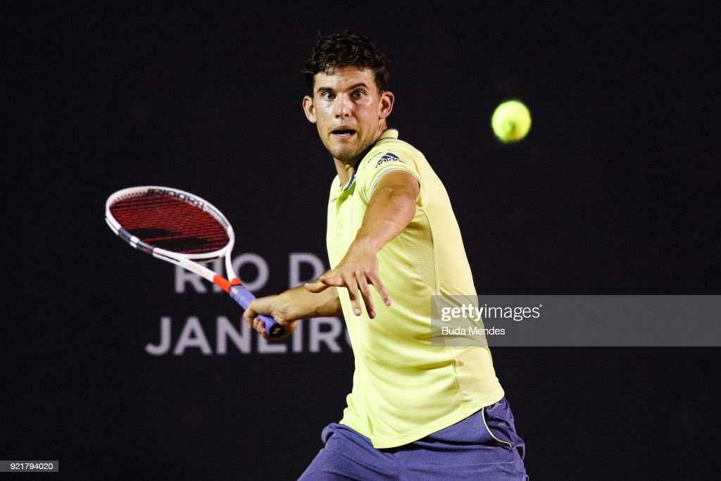 Dominic Thiem of Austria returns a shot to Dusan Lajovic of Serbia during the ATP Rio Open 2018 at Jockey Club Brasileiro on February 20, 2018 in Rio de Janeiro, Brazil.