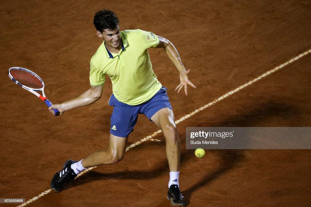 Dominic Thiem of Austria returns a shot to Fernando Verdasco of Spain during the quarter finals of the ATP Rio Open 2018 at Jockey Club Brasileiro on February 23, 2018 in Rio de Janeiro, Brazil.