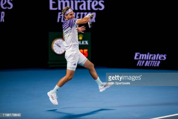 Dominic Thiem of Austria returns the ball during the finals of the 2020 Australian Open on February 2 2020 at Melbourne Park in Melbourne Australia