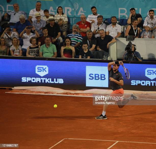Dominic Thiem of Austria returns the ball to Filip Krajinovic of Serbia during final match in the Serbian leg of Adria Tour a charity exhibition...