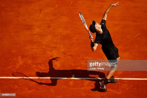 Dominic Thiem of Austria serves against Novak Djokovic of Serbia during day five of the Rolex MonteCarlo Masters at MonteCarlo Sporting Club on April...