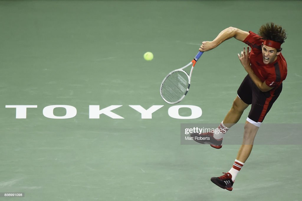 Dominic Thiem of Austria serves against Steve Johnson of the USA during day two of the Rakuten Open at Ariake Coliseum on October 3, 2017 in Tokyo, Japan.