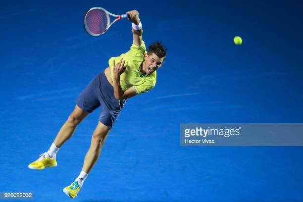Dominic Thiem of Austria serves during a match between Dominic Thiem of Austria and Denis Shapovalov of Canada as part of the Telcel ATP Mexican Open...