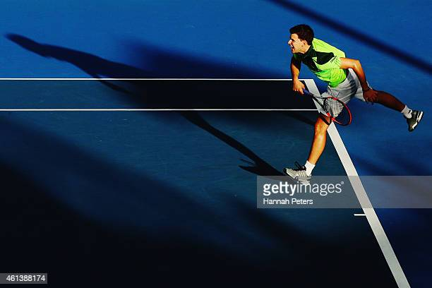 Dominic Thiem of Austria serves during his match against JanLennard Struff of Germany during day one of the 2015 Heineken Open Classic at Auckland...