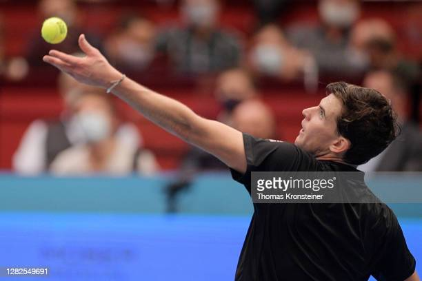 Dominic Thiem of Austria serves during his match against Vitaliy Sachko of Ukraine on day four of the Erste Bank Open tennis tournament at Wiener...