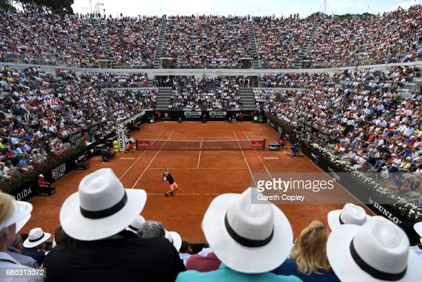 Dominic Thiem of Austria serves during his quarter final match against Rafael Nadal of Spain in The Internazionali BNL d'Italia 2017 at Foro Italico...
