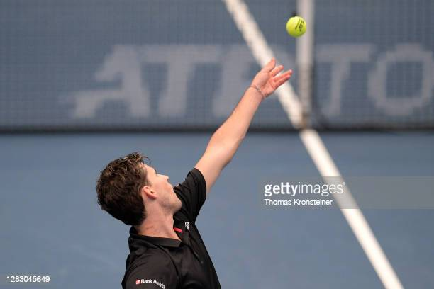 Dominic Thiem of Austria serves during his quarter finals match against Andrey Rublev of Russia on day seven of the Erste Bank Open tennis tournament...