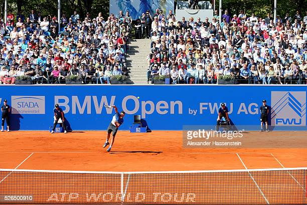 Dominic Thiem of Austria serves during his semi finale match against Alexander Zverev of Germany of the BMW Open at Iphitos tennis club on April 30...