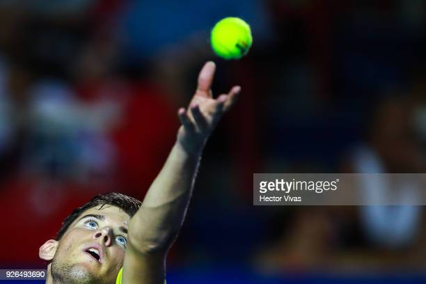 Dominic Thiem of Austria serves during the match between Juan Martin del Potro of Argentina and Dominic Thiem of Austria as part of the Telcel ATP...