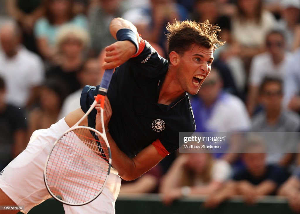 Dominic Thiem of Austria serves during the mens singles second round match against Stefanos Tsitsipas of Greece during day four of the 2018 French Open at Roland Garros on May 30, 2018 in Paris, France.