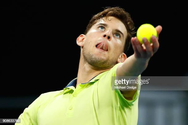 Dominic Thiem of Austria serves in his fourth round match against Tennys Sandgren of the United States on day eight of the 2018 Australian Open at...