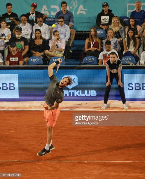 Dominic Thiem of Austria serves the ball to Filip Krajinovic of Serbia during final match in the Serbian leg of Adria Tour a charity exhibition...