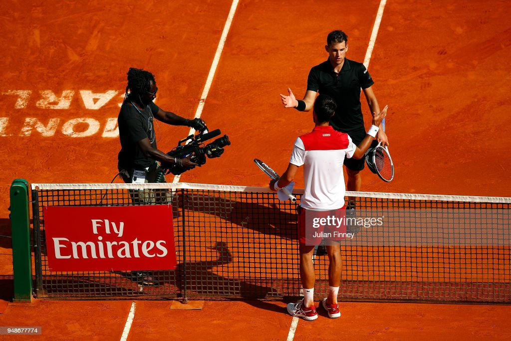 Dominic Thiem of Austria shakes hands with Novak Djokovic of Serbia after beating him in their men's singles 3rd round match on day five of the Rolex Monte-Carlo Masters at Monte-Carlo Sporting Club on April 19, 2018 in Monte-Carlo, Monaco.
