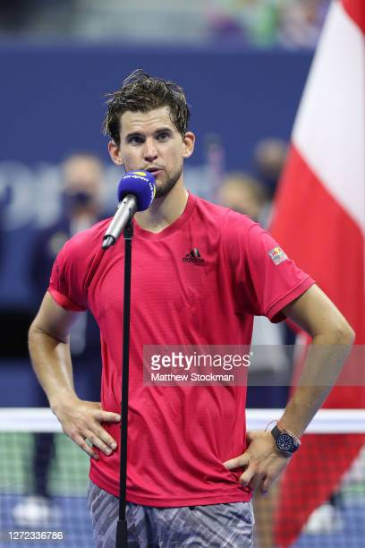 Dominic Thiem of Austria speaks before being awarded the championship trophy after winning in a tiebreaker during his Men's Singles final match...
