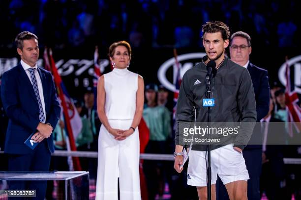 Dominic Thiem of Austria speaks to the crowd after receiving his trophy after losing the final of the 2020 Australian Open on February 2 2020 at...