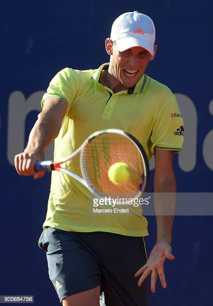 Dominic Thiem of Austria takes a backhand shot during a semifinal match against Gael Monfils of France as part of ATP Argentina Open at Buenos Aires...