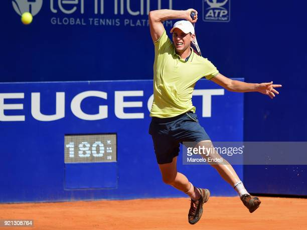 Dominic Thiem of Austria takes a forehand shot during a match against Aljaz Bedene of Slovenia as part of ATP Argentina Open at Buenos Aires Lawn...