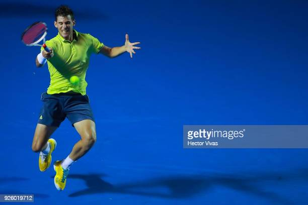 Dominic Thiem of Austria takes a forehand shot during a match between Dominic Thiem of Austria and Denis Shapovalov of Canada as part of the Telcel...