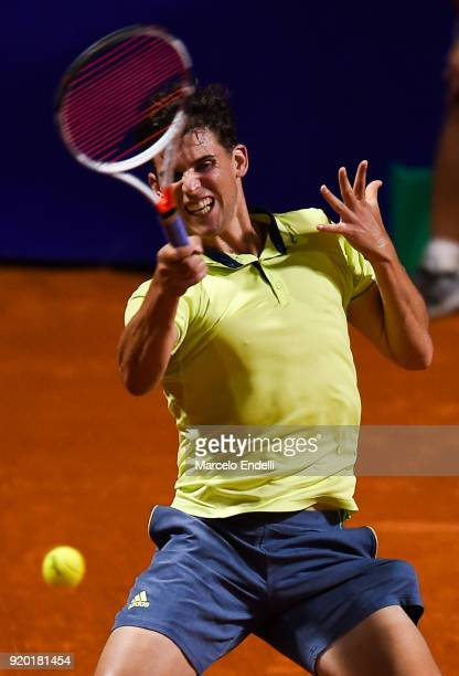 Dominic Thiem of Austria takes a forehand shot during a quarter final match between Dominic Thiem of Austria and Guido Pella of Argentina as part of...