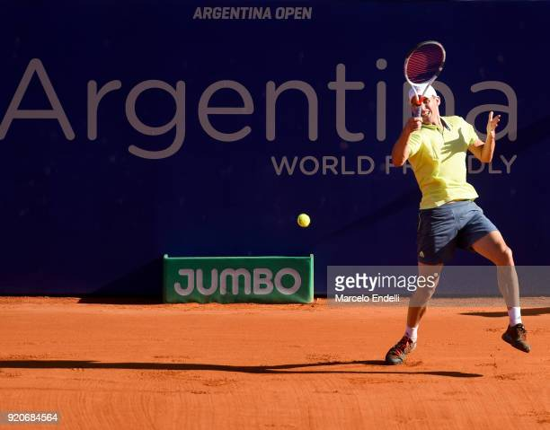 Dominic Thiem of Austria takes a forehand shot during a semifinal match against Gael Monfils of France as part of ATP Argentina Open at Buenos Aires...