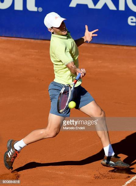 Dominic Thiem of Austria takes a forehand shot during a semifinal match between Dominic Thiem of Austria and Gael Monfils of France as part of ATP...