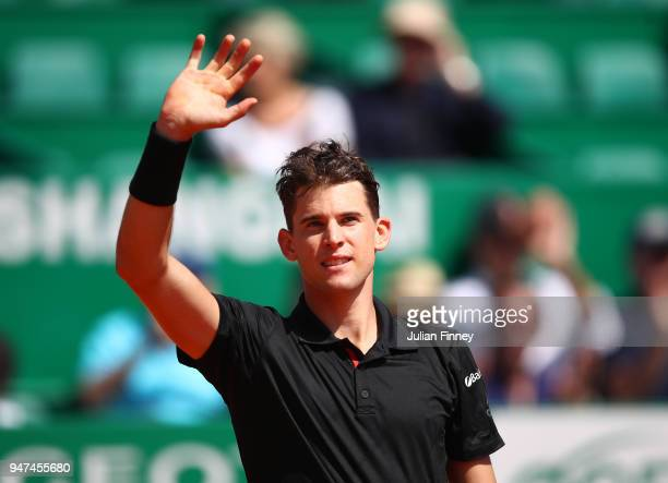 Dominic Thiem of Austria waves to the crowd after victory in his Mens Singles match against Andrey Rublev of Russia at MonteCarlo Sporting Club on...