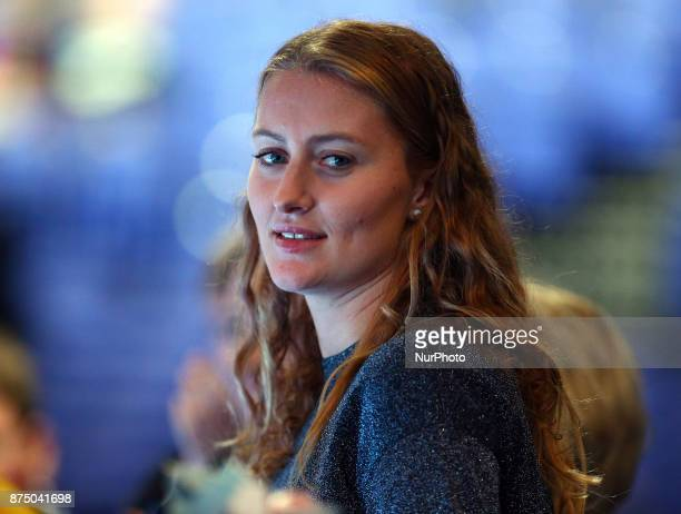 Dominic Thiem of Austria's girlfriend Kristine Mladenovic during Day five of the Nitto ATP World Tour Finals played at The O2 Arena London on...