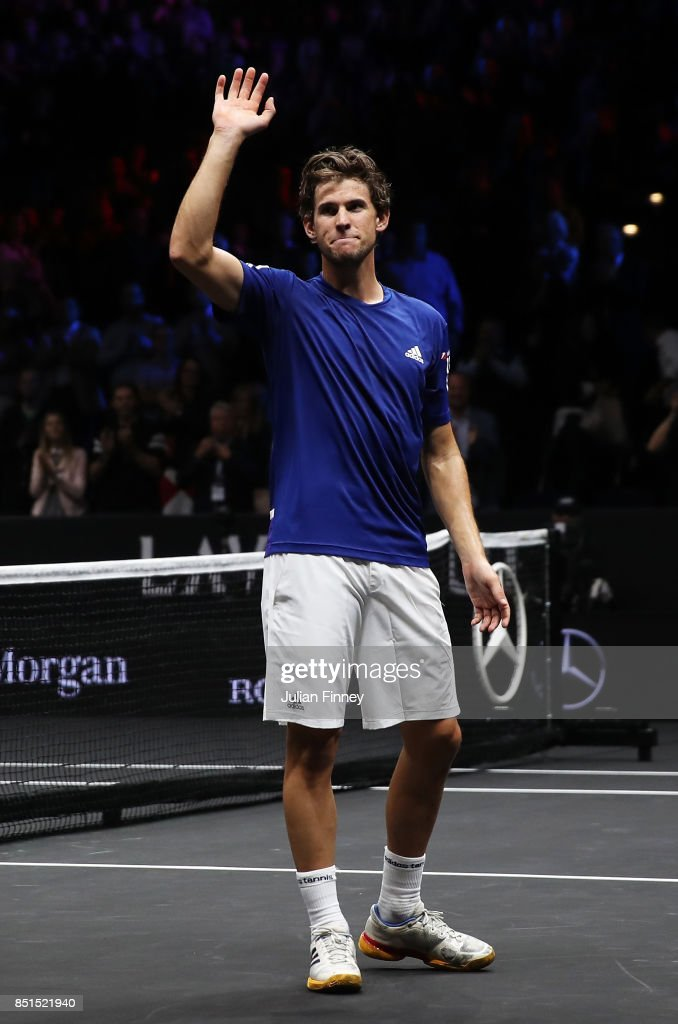 Dominic Thiem of Team Europe celebrates after winning his singles match against John Isner of Team World on the first day of the Laver Cup on September 22, 2017 in Prague, Czech Republic. The Laver Cup consists of six European players competing against their counterparts from the rest of the World. Europe will be captained by Bjorn Borg and John McEnroe will captain the Rest of the World team. The event runs from 22-24 September.