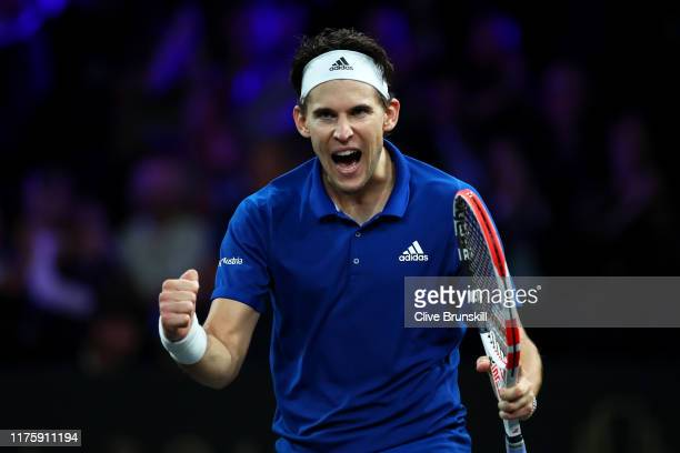 Dominic Thiem of Team Europe celebrates match point in his singles match against Denis Shapovalov of Team World during Day One of the Laver Cup 2019...