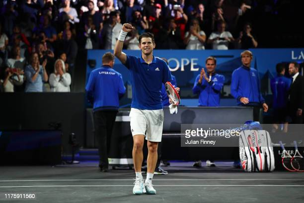 Dominic Thiem of Team Europe celebrates victory after his singles match against Denis Shapovalov of Team World during Day One of the Laver Cup 2019...