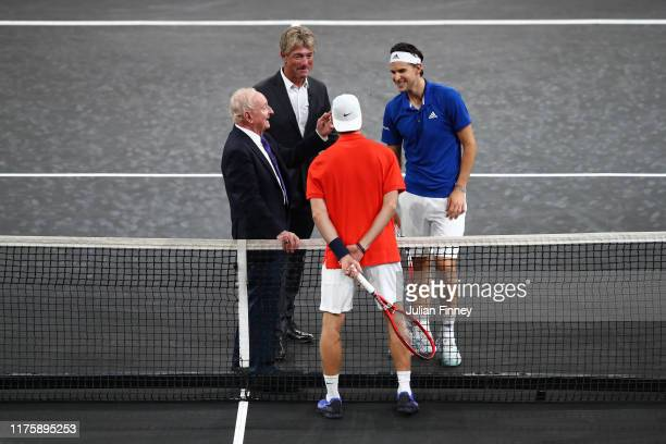 Dominic Thiem of Team Europe, Denis Shapovalov of Team World and Rod Laver during the coin toss prior to the start of the first match on Day One of...
