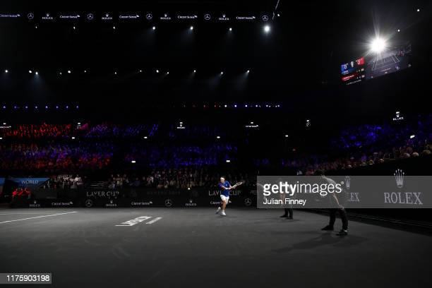 Dominic Thiem of Team Europe plays a backhand in his singles match against Denis Shapovalov of Team World during Day One of the Laver Cup 2019 at...