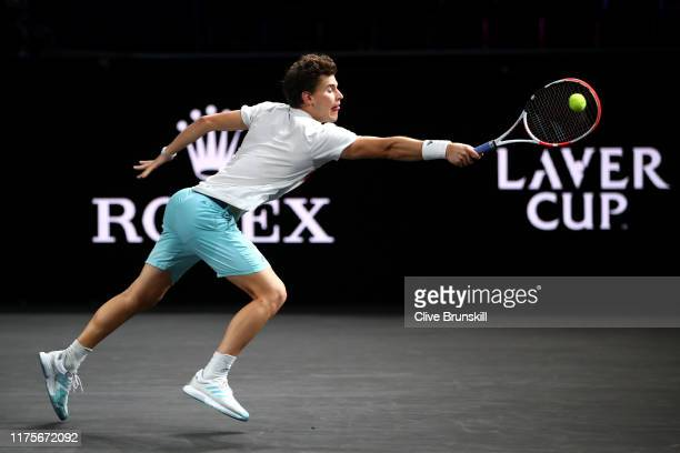 Dominic Thiem of Team Europe stretches to play a backhand during a practice session ahead of the Laver Cup 2019 at Palexpo on September 19, 2019 in...