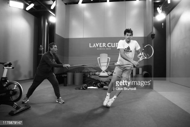 Dominic Thiem of Team Europe warms up prior to a practice session ahead of the Laver Cup 2019 at Palexpo on September 19, 2019 in Geneva,...