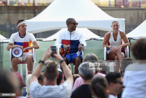 Dominic Thiem Pharrell Williams and Angelique Kerber attend adidas Tennis Pharrell Williams Don't Be Quiet Please Event at Frederick Johnson Tennis...