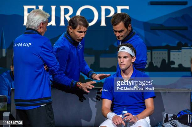 Dominic Thiem talks with Björn Borg Captain of Team Europe Rafael Nadal and Roger Federer during Day 1 of the Laver Cup 2019 at Palexpo on September...